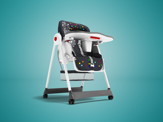 Modern white highchair for feeding child with soft stand 3d render on blue background with shadow