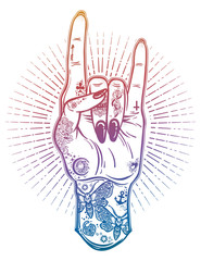 Raised inked hand as a rock and roll sign gesture with black nails.