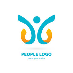 Logo design abstract people vector template.