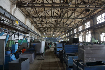 Large metalworking and tool-handling shop at the manufacturing plant