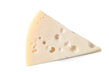 Maasdam cheese isolated on a white background