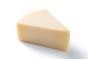 Edam cheese  piece on white background