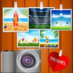 Camera and pictures. vector illustration