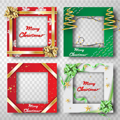 Paper art and craft of Christmas border frame photo design set,transparency,ribbon,vector