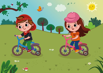 Vector illustration of two kids riding a bike in the nature.