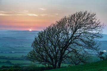 Sunset viewed from Stenbury Down on the Isle of Wight, England