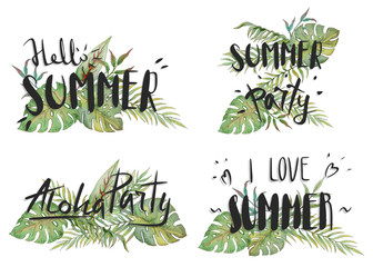 Hello summer, Aloha Party, I love summer, summer party. Summer lettering and tropical plants, palms