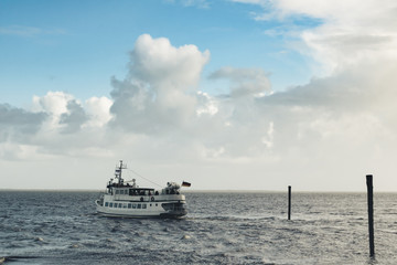 Germany, North Sea, Ferry on her way to Wangerooge