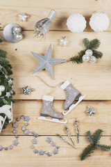 Christmas decoration items, real fir tree green, snow ball candles, skates, bird, Christmas baubles, vintage icicles, stars