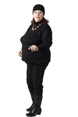A fat woman in a tracksuit