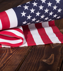 United States Flag on Rustic Wooden Background