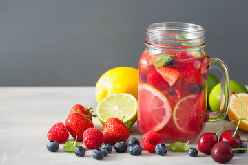 summer berry lemonade with lime and mint in mason jar