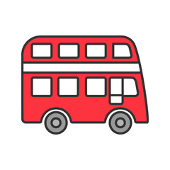 Double decker bus color icon