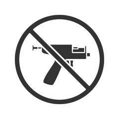 Forbidden sign with piercing gun glyph icon