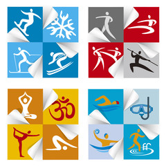 Sport fitness icons stickers. 