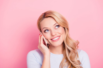 Wall Mural - Portrait of pretty freelancer, charming girlfriend, nice student, friendly carefree girl using cell smart phone speaking with lover, parents, friend isolated on pink background