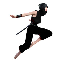 3D Rendering Female Ninja on White