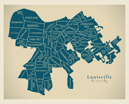 Modern City Map - Louisville Kentucky city of the USA with neighborhoods and titles