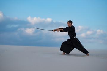 Garden Poster Martial arts Samurai on the blue cloudy sky background