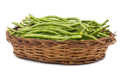 Green Beans in Basket Also Called Snap Beans or String Beans isolated on White Background