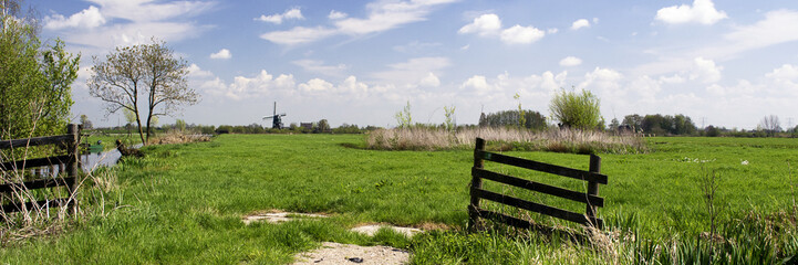 Photo sur Aluminium Bleu ciel Typical dutch landscape with windmill, green grass, wooden fence, blue sky, white clouds and trees