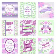 Spring Sale banners vector set. Badges collection with blooming lilac flowers and frames for Spring sale. Design template cards for hotel, beauty salon, spa, restaurant, club. Vouchers spring discount