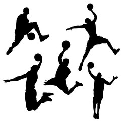 Silhouette of basketball player in different on white background
