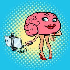 Character brain Woman selfie stick photo
