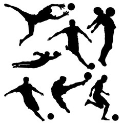 Set of soccer player silhouettes with ball on white background