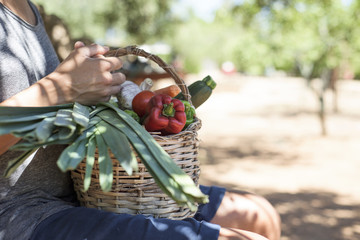 young man with a basket full of vegetables.