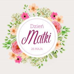 Fototapeta Dzień Matki 26 Maja - kartka z motywem kwiatowym obraz