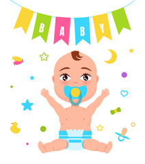 Baby Poster Child and Flag Vector Illustration