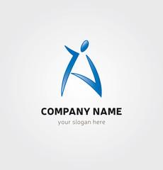 Logo Lettre A Icone Marque - Personnage en Bleu