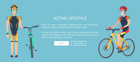 Active Lifestyle Blue Web Page Vector Illustration