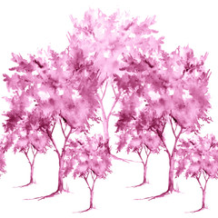 Vintage watercolor seamless pattern, a group of pink trees on a white background