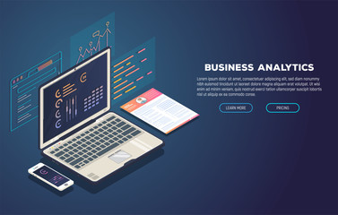 Isometric laptop with software for business analytic. Web pages and window with chart and financial report. Modern trendy gradient and isometric vector illustration.