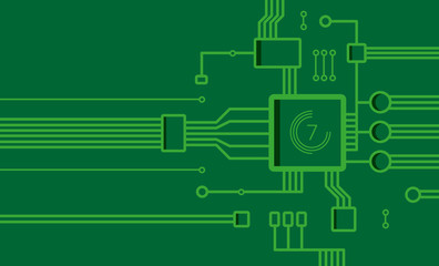 Vector background in the form of a computer chip green.