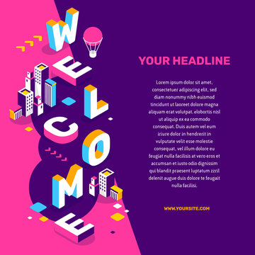 Invitation to the city concept. Vector creative abstract illustration of 3d welcome word lettering typography with building, decor element, text on color background.