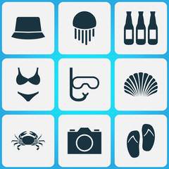 Sun icons set with beer, swimming mask, jellyfish and other video  elements. Isolated vector illustration sun icons.