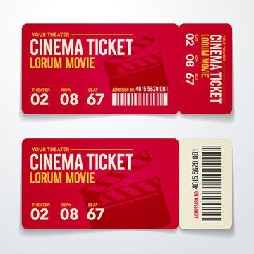vector illustration two cinema tickets design template set