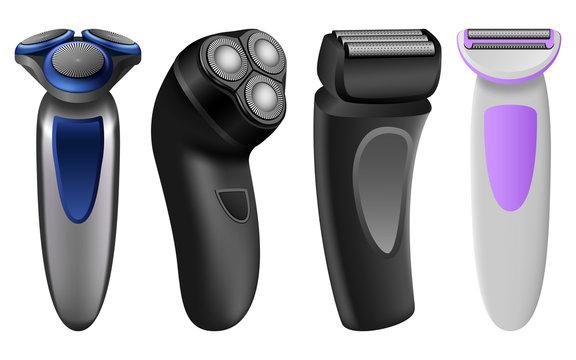 Shaver razor electric mockup set. Realistic illustration of 4 shaver razor electric mockups for web