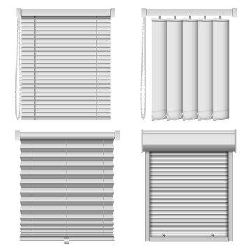 Blind window curtains mockup set. Realistic illustration of 4 blind window curtains mockups for web