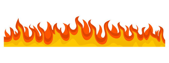 Burning fire flame banner horizontal. Flat illustration of vector burning fire flame banner horizontal for web design