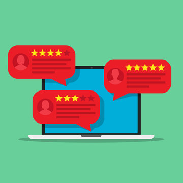 Computer with customer review rating messages