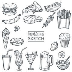 Food and drinks vector hand drawn sketch set. Hand drawn fast food, drinks, desserts, snacks. Doodle illustration of summer menu. Decoration elements for restaurant,cafe,menu,bar. Eps 10