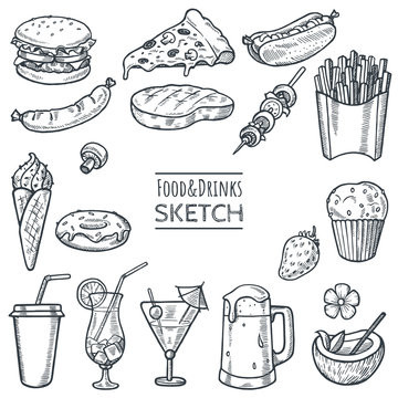 Food and drinks vector hand drawn sketch set. Hand drawn fast food, drinks, desserts, snacks. Doodle illustration of summer menu. Decoration elements for restaurant,cafe,menu,bar. Eps 10