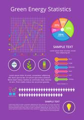 Green Energy Statistics Poster Vector Illustration