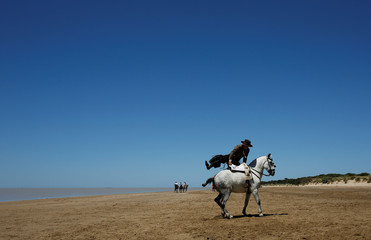 A pilgrim rides his horse on his way to the shrine of El Rocio in Donana National Park, southern Spain