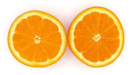 fresh organic orange fruit cutting isolate on white background.