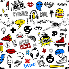 Seamless pattern with Hipsters teens doodles